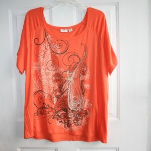 NWOT Cato Women's Orange Graphic Tee Size: 18/20W